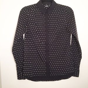 Kate Spade Saturday black button down white dots